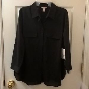 White Stag Black Long Sleeve Button Down Blouse L